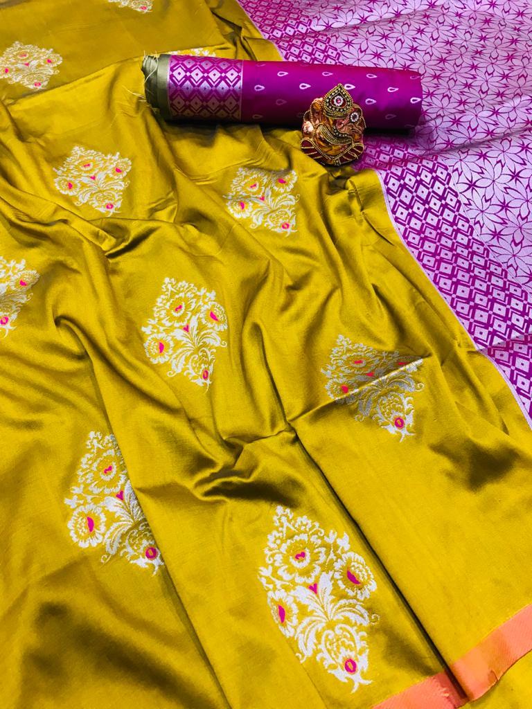 mustard lichi silk zari weaving work saree Design dvz0001688