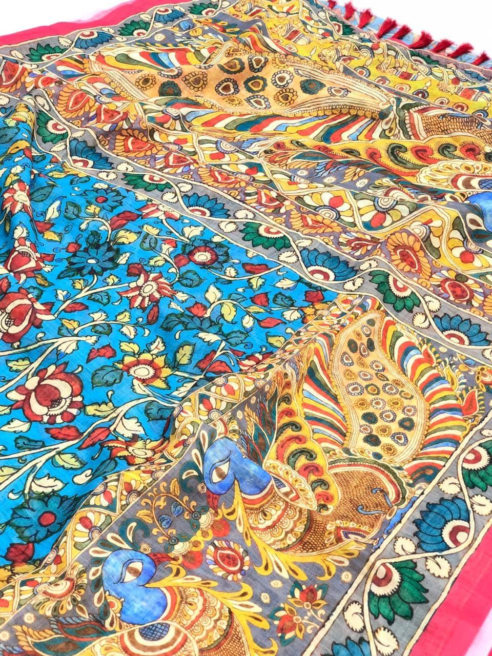 newest addition special Kalamkari Linen Saree in Bue dvz0001721