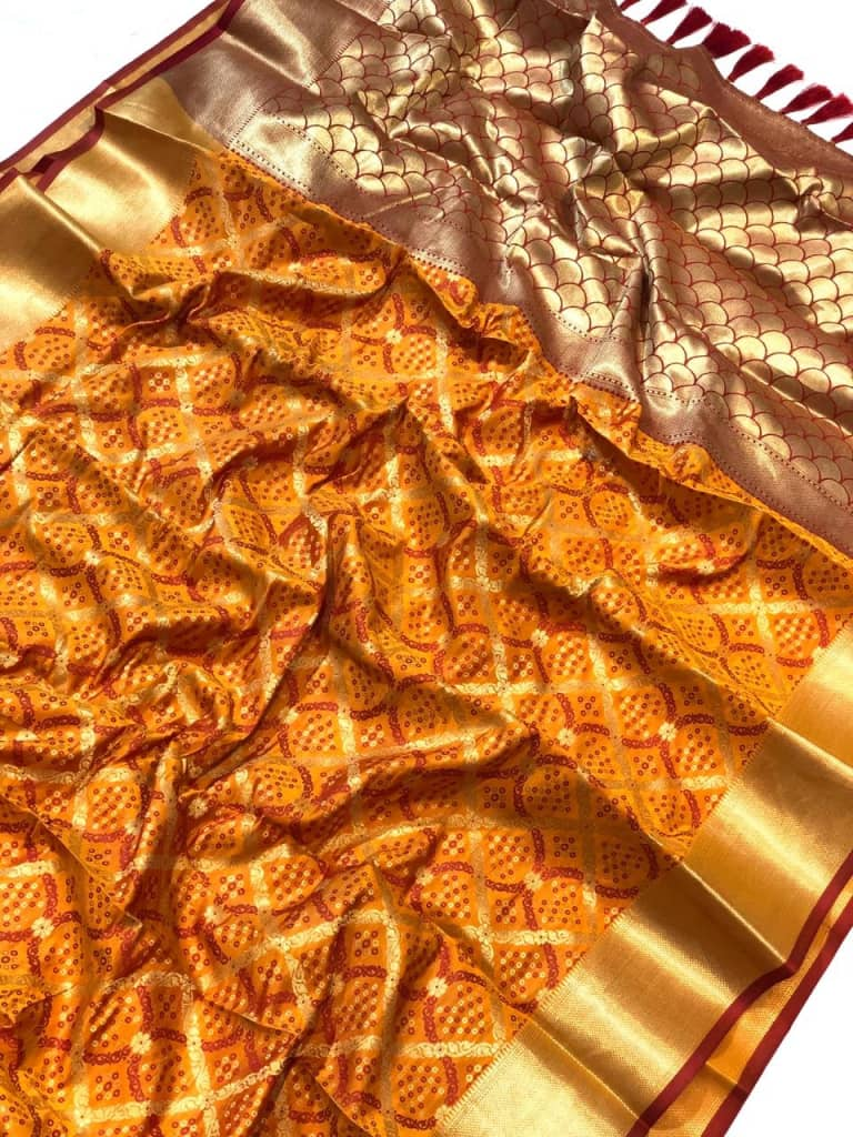 orange Banarasi Silk with pure special weave and crafts with Bandhej patterns with purity Golden zari dvz0001418 - banarasi silk sarees buy online