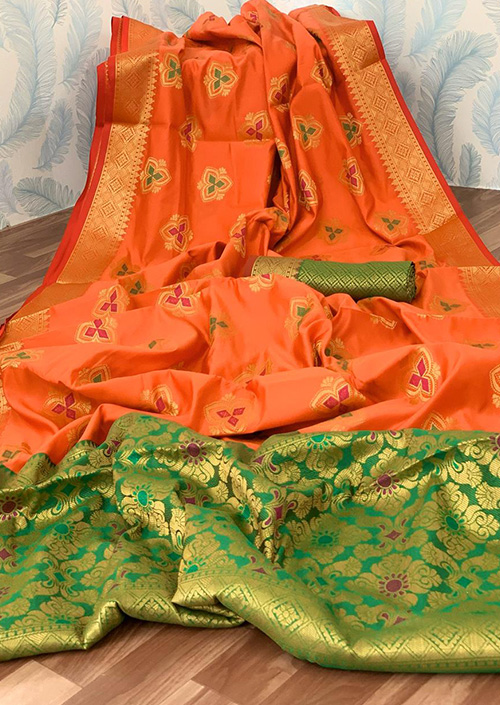 orange Lichi silk saree Online india dvz0001043