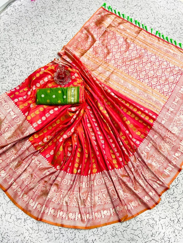 orange banarasi silk saree with weaving zari design dvz0002154