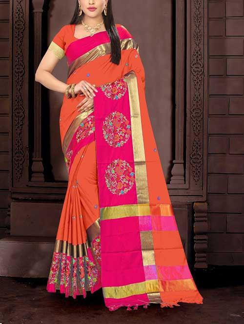 orange-color-cotton-silk-embroidery-saree-dvz00064