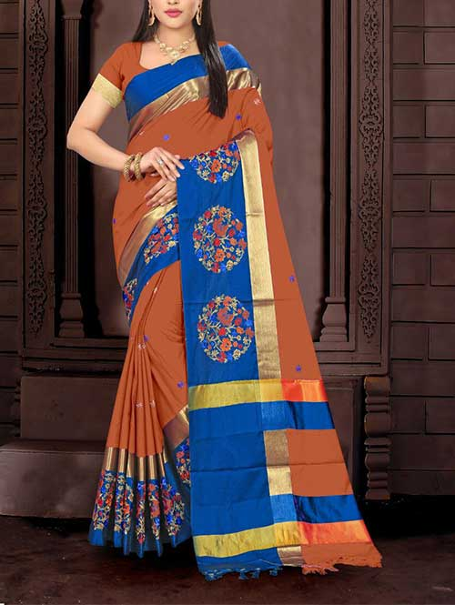orange-color-cotton-silk-embroidery-saree-dvz00065