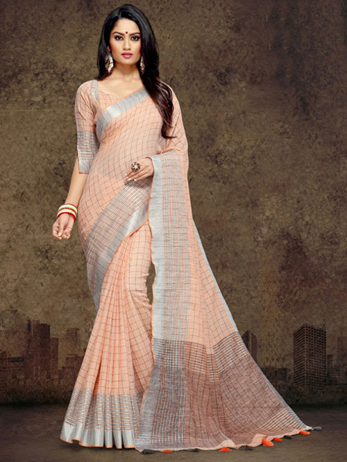 orange-colored-checkered-linen-saree-with-zari-border-dvz000112 (1)