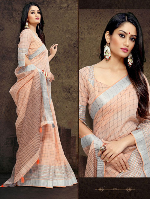 orange-colored-checkered-linen-saree-with-zari-border-dvz000112 (2)