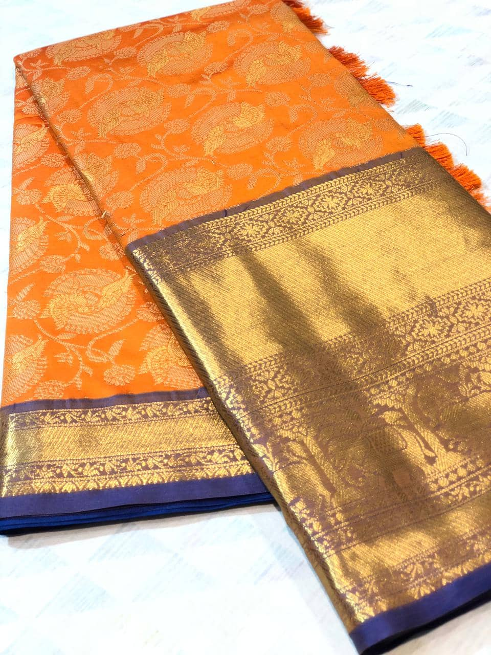 orange kanchipuram silk sarees online shopping dvz0001929