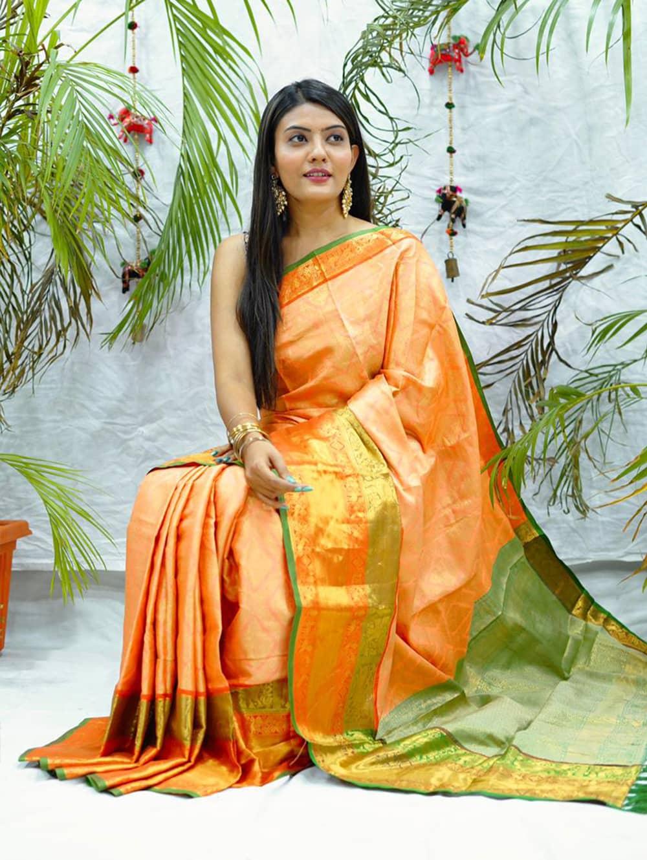 orange kanjivaram soft silk sarees in india dvz0002089