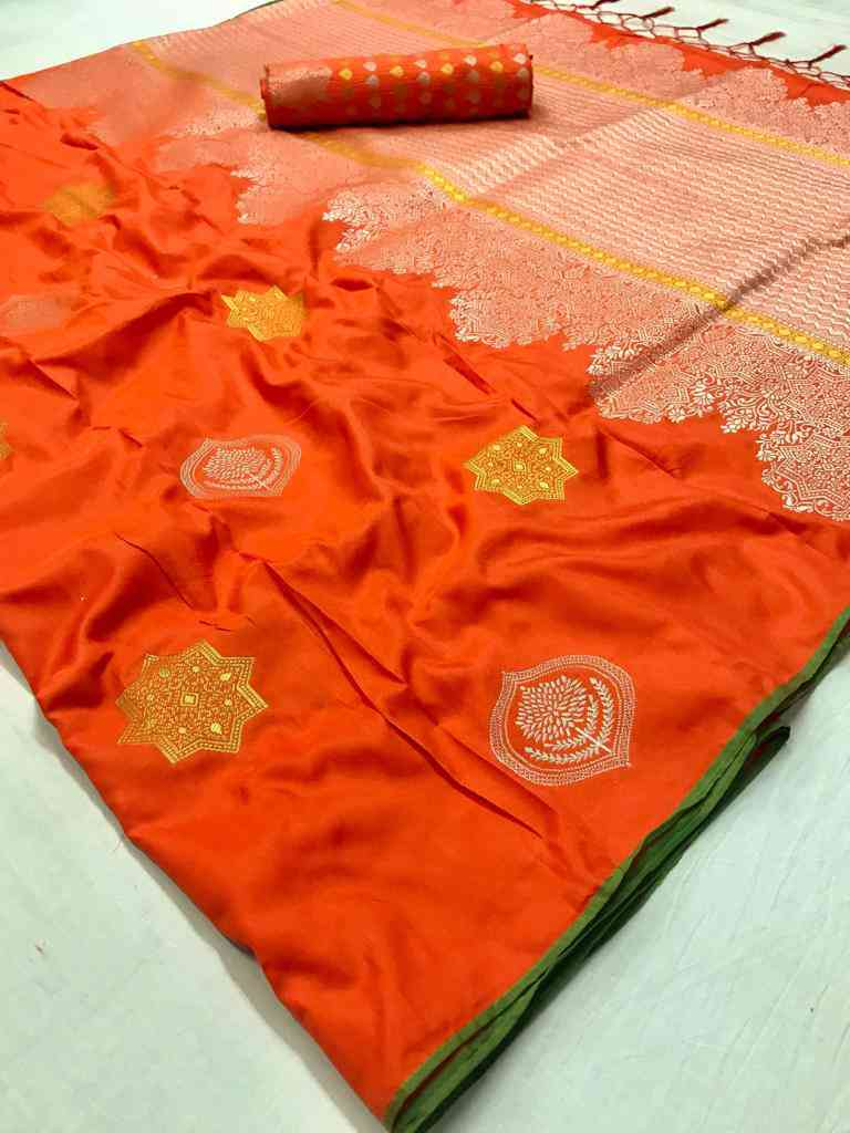 Orange Soft silk saree - soft silk sarees online shopping - dvz000010