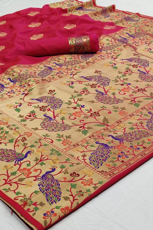 paithani silk saree blouse design dvz0001187