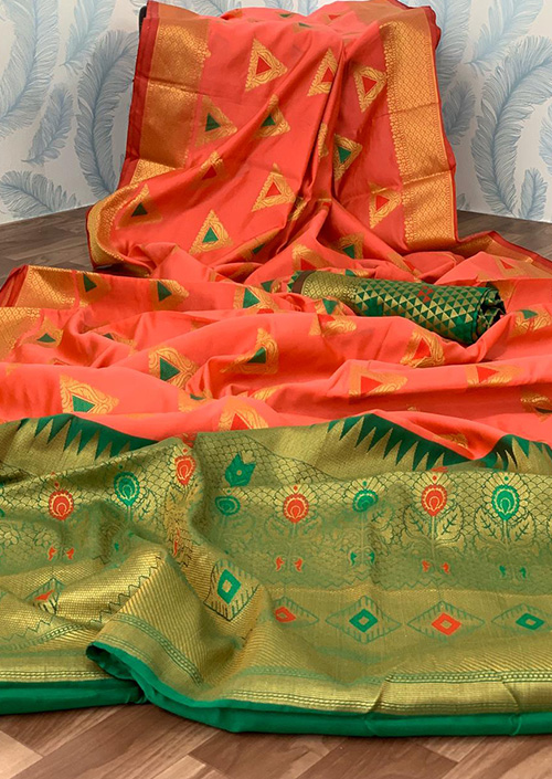 peach Lichi silk saree Online india dvz0001044