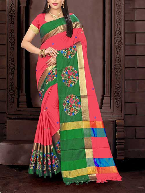 peach-color-cotton-silk-embroidery-saree-dvz00066