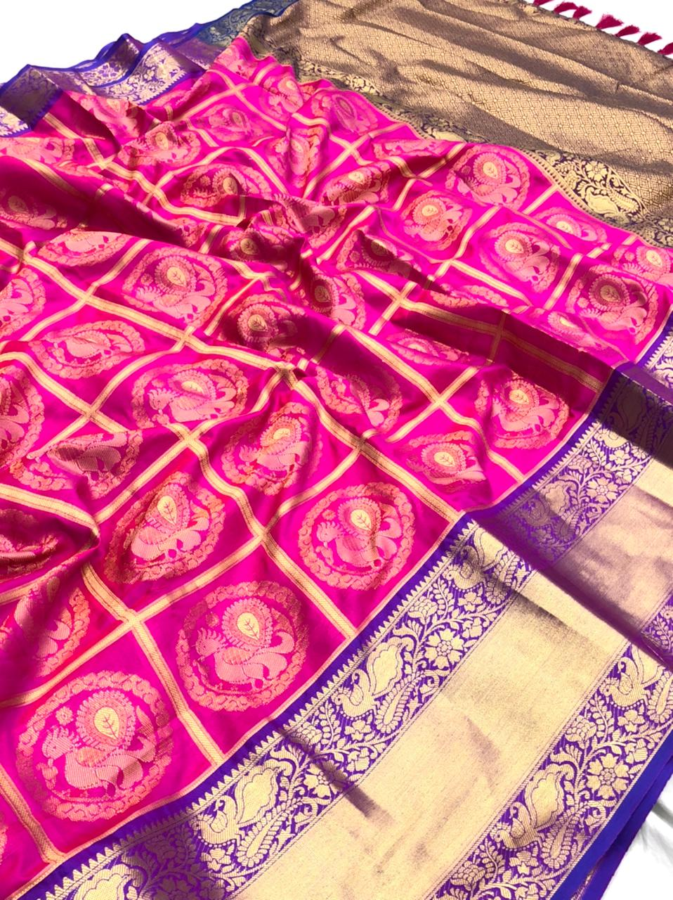 pink Kanchipuram Silk Sarees online shopping dvz0001962