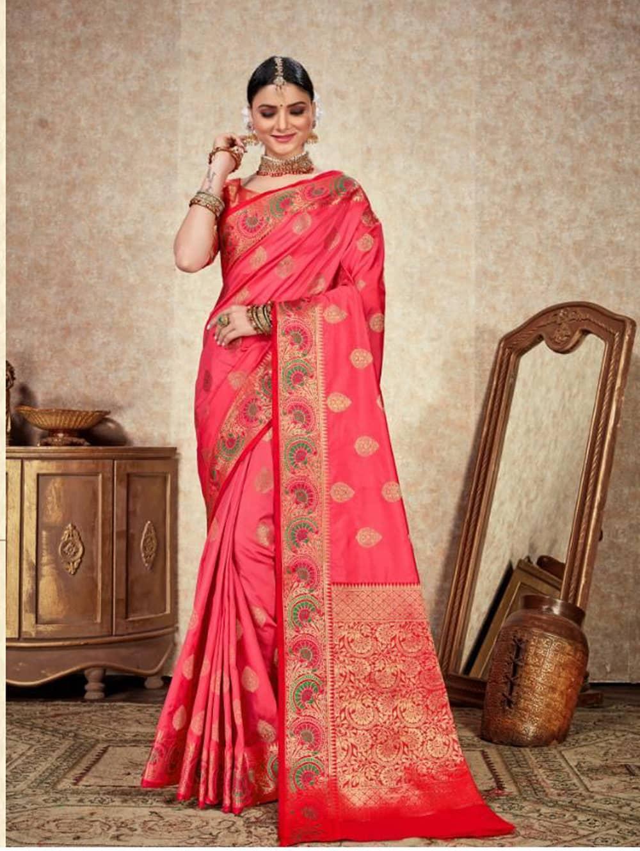 pink Soft Silk Weaving saree with Designer Border & Rich Pallu dvz0001801