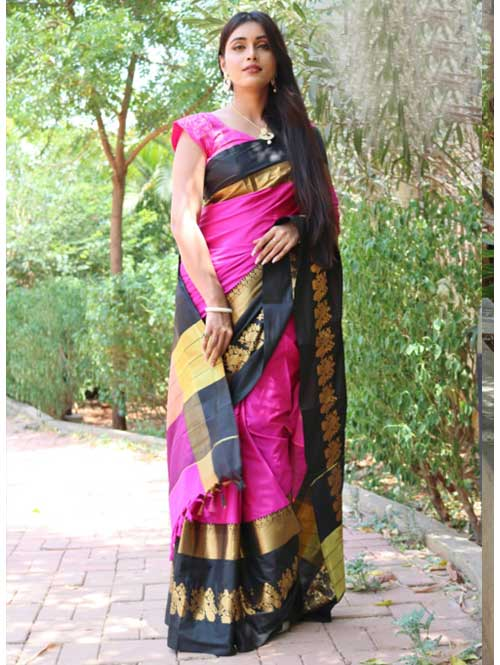 Pink Cotton Silk Saree with Extra Blose Piece - Rich Mayurica
