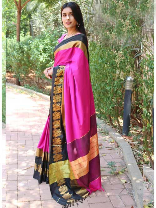 Pink Cotton Silk Saree with Extra Blose Piece - Rich Mayurica - buy sarees online