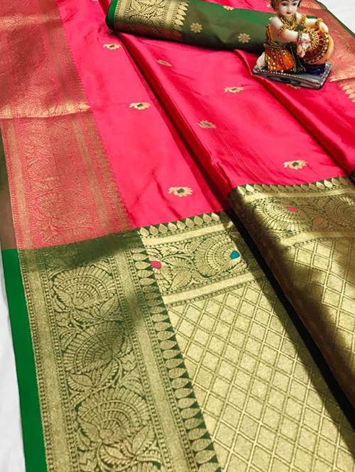 pink soft silk with attractive gold jari work saree dvz0001822