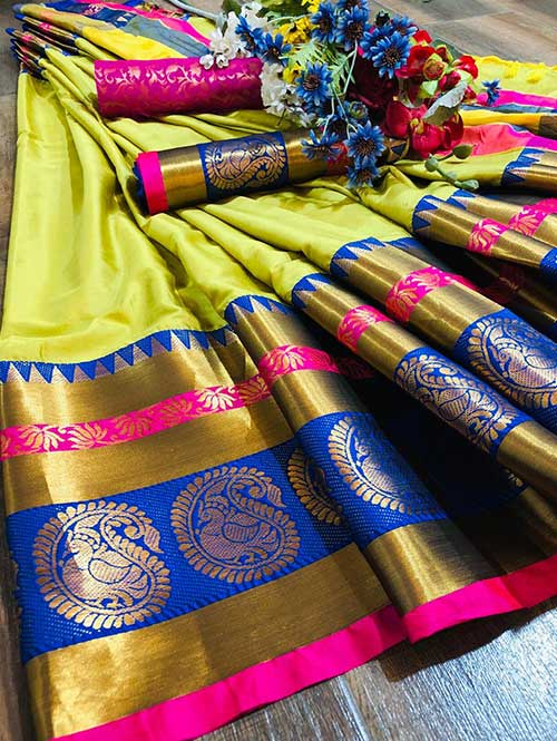 pista-colored-beautiful-branded-cotton-silk-saree-with-double-blouse-dvz000175
