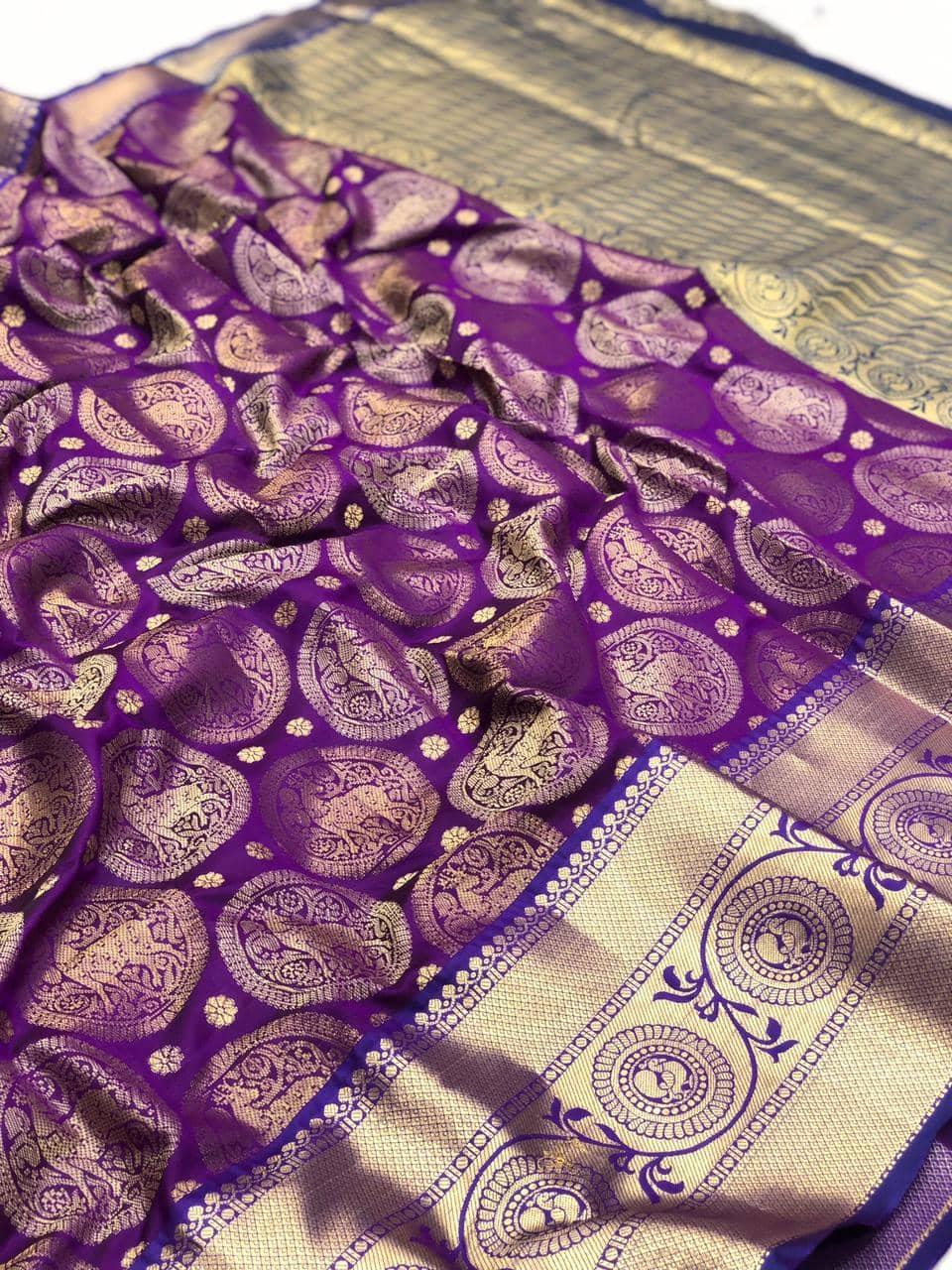 purple kanjeevaram silk sarees online shopping dvz0002109