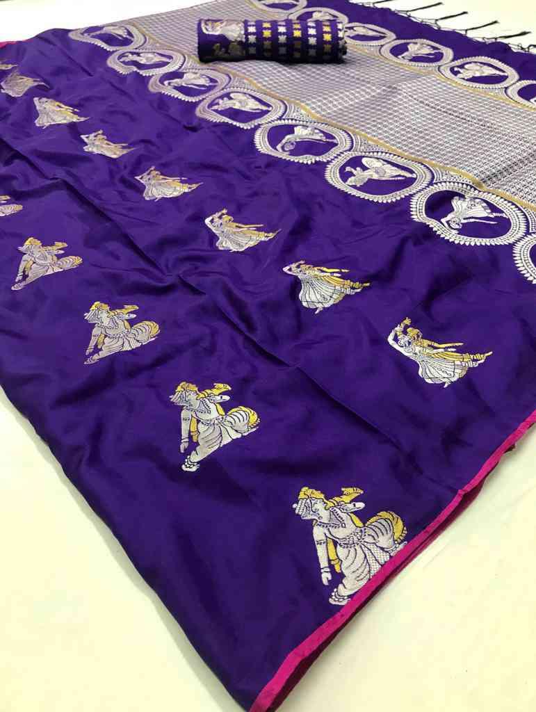 Purple Soft silk saree - soft silk sarees online shopping - dvz000004