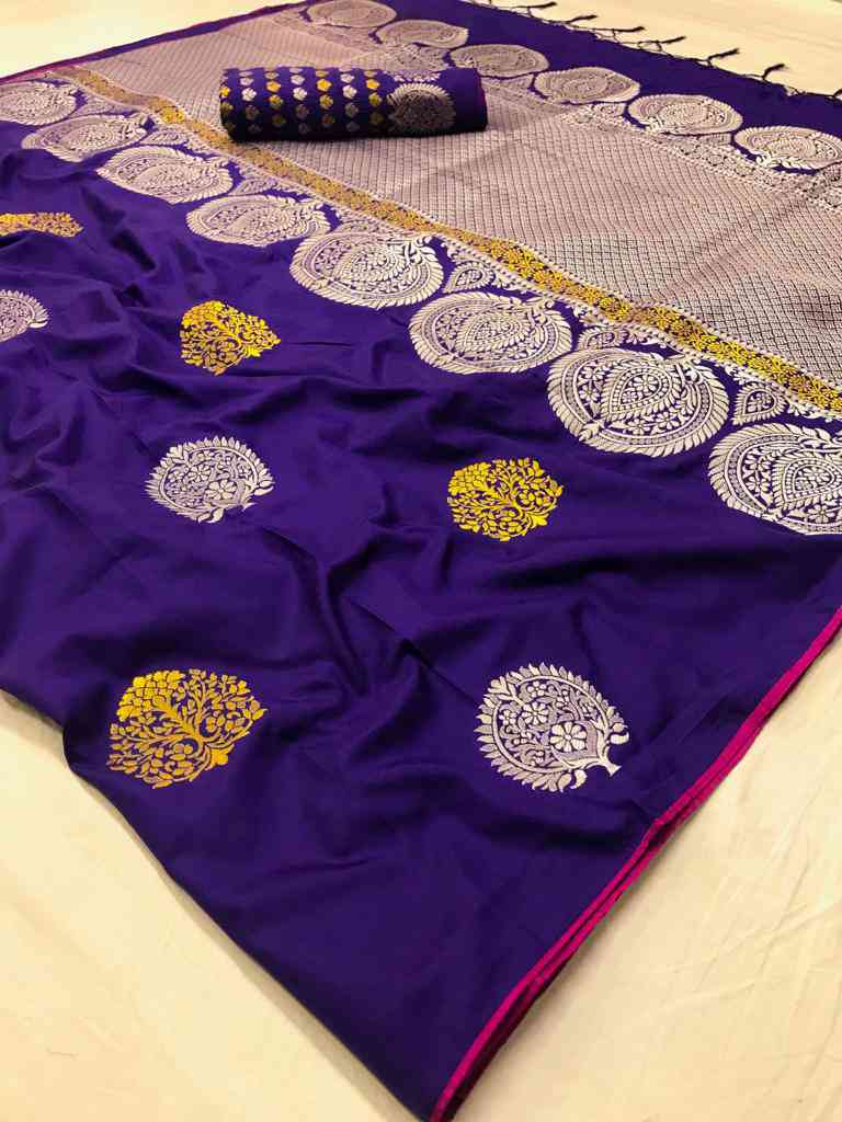 Purple Soft silk saree - soft silk sarees online shopping - dvz000008