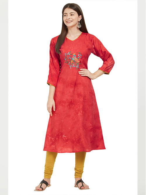 red-color-beautiful-printed-and-embroidered-rayon-straight-kurti-dvz000228