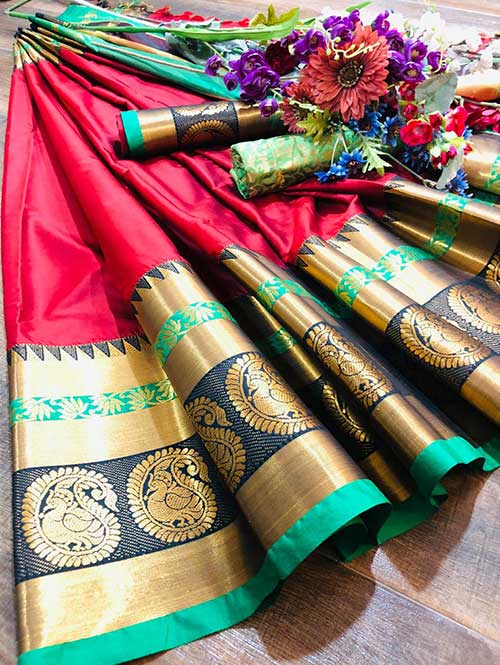 red-colored-beautiful-branded-cotton-silk-saree-with-double-blouse-dvz000176