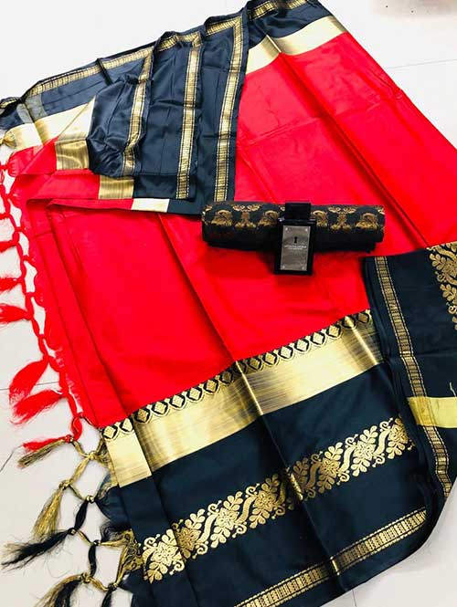 Red cotton silk saree - silk sarees online - saree duniya