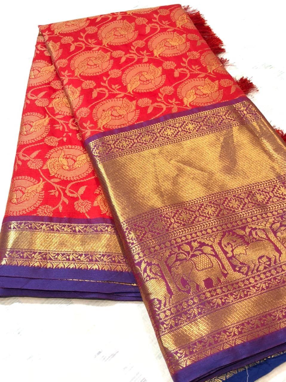 red kanchipuram silk sarees online shopping dvz0001937