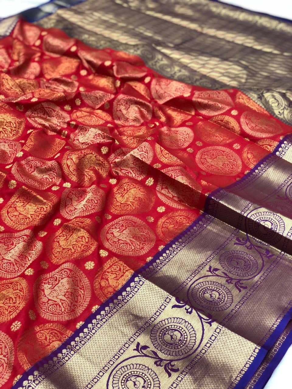 red kanjeevaram silk sarees online shopping dvz0002112