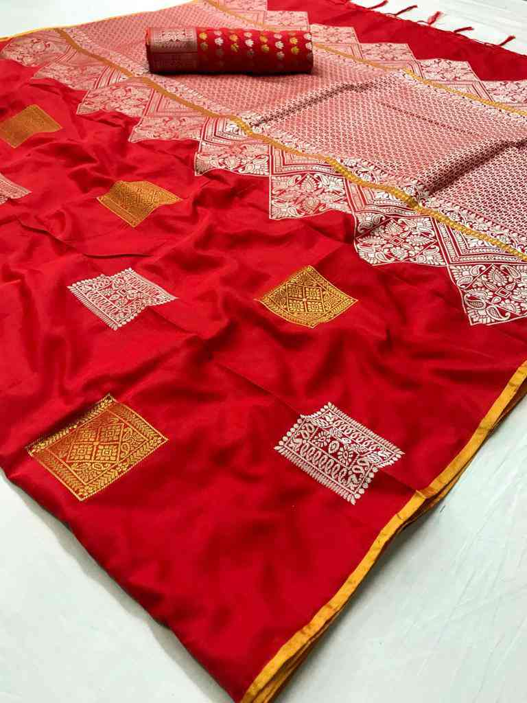 Red Soft silk saree - soft silk sarees online shopping - dvz000006