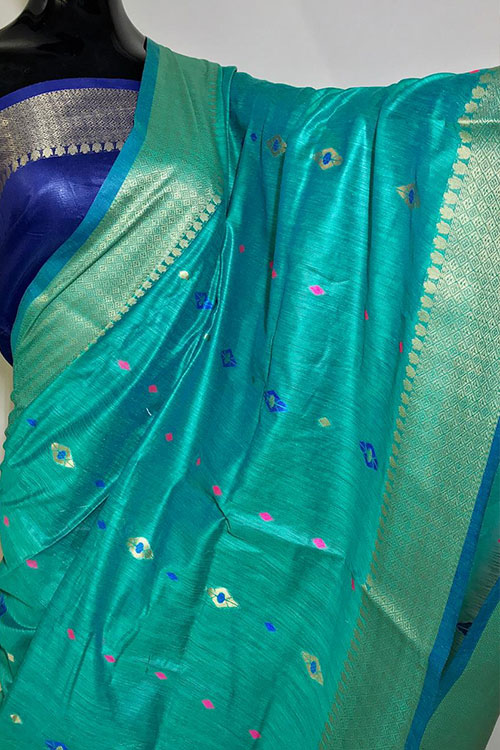 sea Green Soft handloom cotton weaving saree dvz0001021