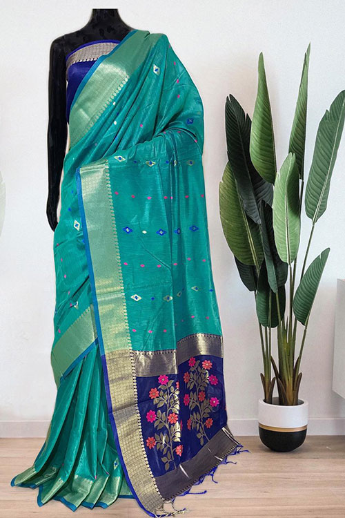 sea Green Soft handloom cotton weaving saree with blouse piece dvz0001021