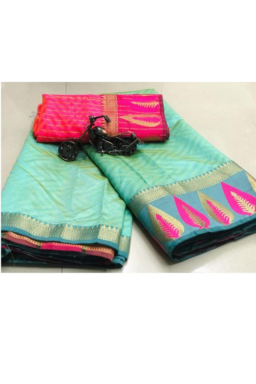 sky Blue Soft Cotton saree with weaving border n weaving blouse dvz0001133