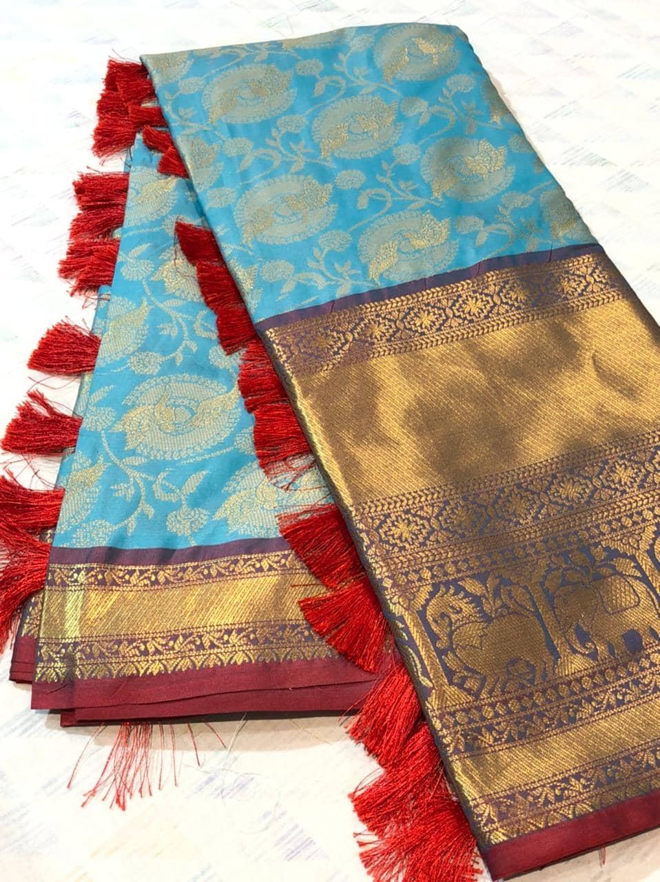 sky blue kanchipuram silk sarees online shopping dvz0001934