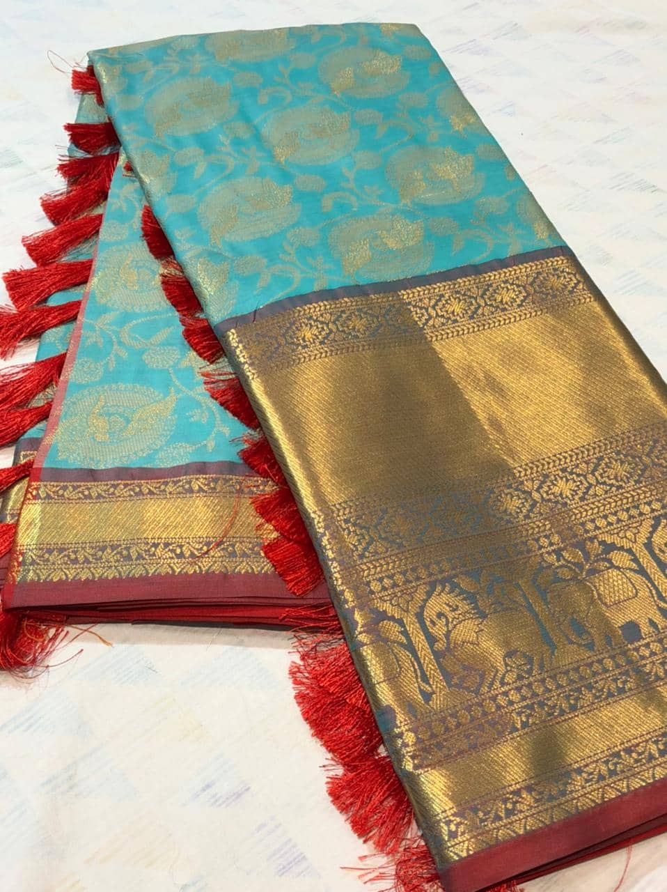 sky blue kanchipuram silk sarees online shopping dvz0001935