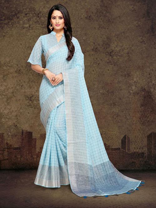 sky-colored-checkered-linen-saree-with-zari-border-dvz000114 (1)