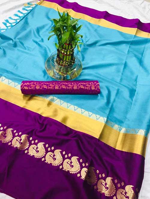 sky-colored-cotton-silk-saree-dvz00032