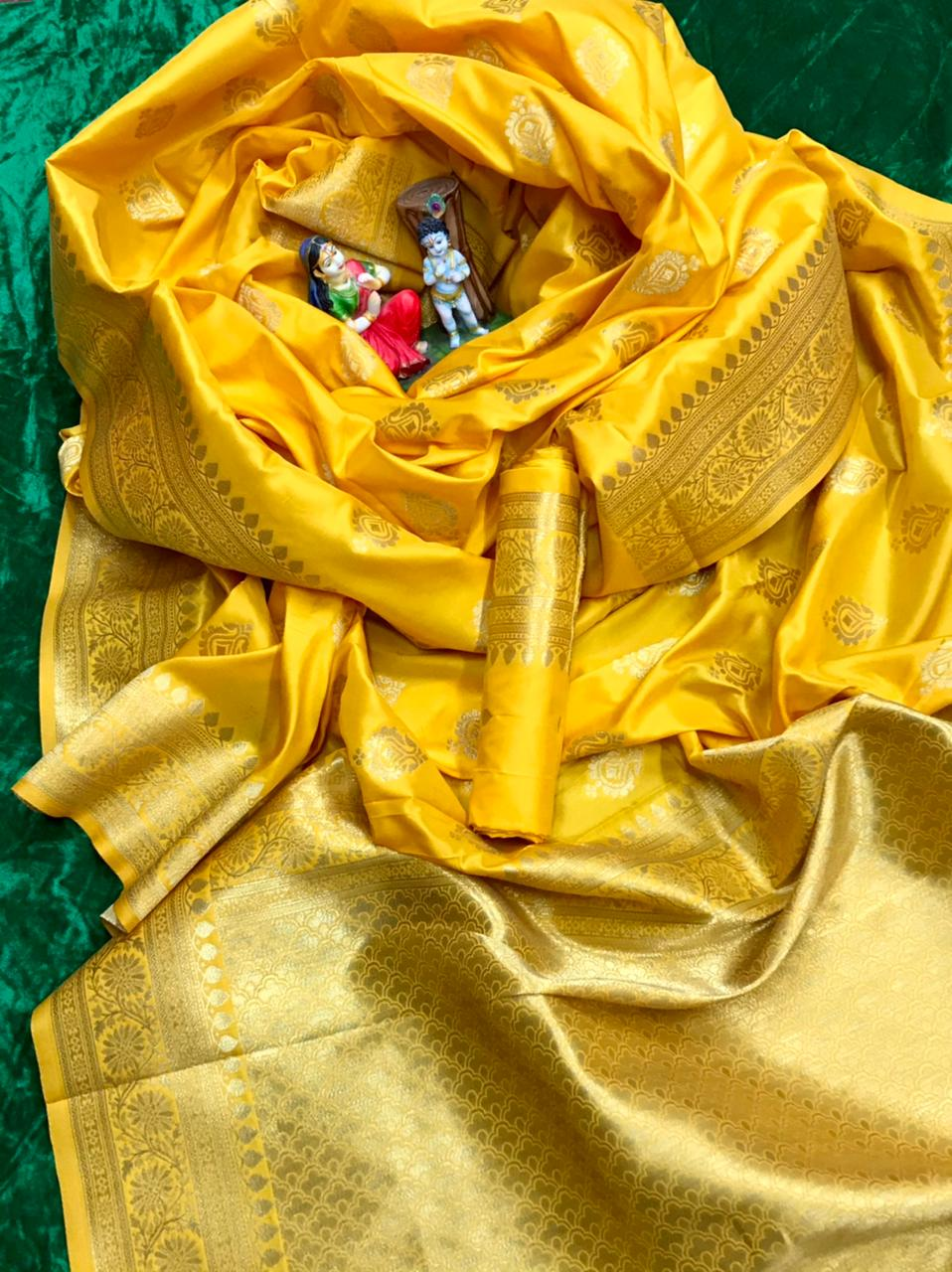 soft banarasi lichi silk saree in Yellow dvz0002067 - soft silk sarees online shopping with price