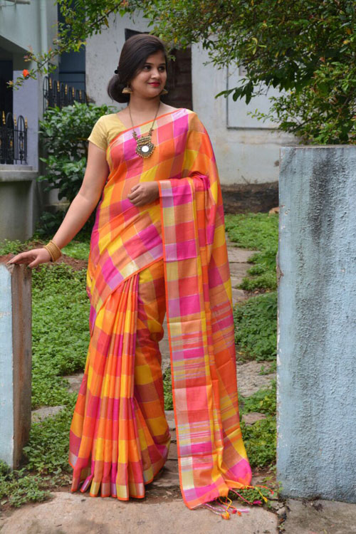 soft summer Linen saree with Spanish checked weaving pure silver zari weave Boder Saree dvz0001128