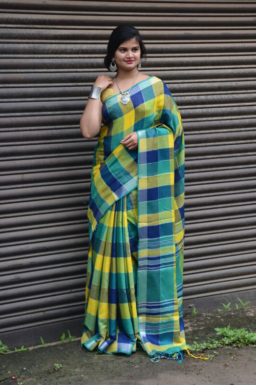 soft summer Linen saree with Spanish checked weaving pure silver zari weave Boder Saree dvz0001129