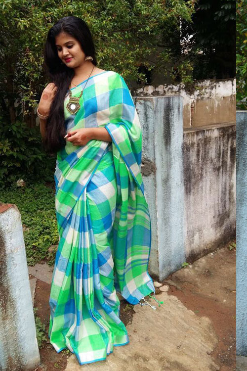 soft summer Linen saree with Spanish checked weaving pure silver zari weave Boder Saree dvz0001131