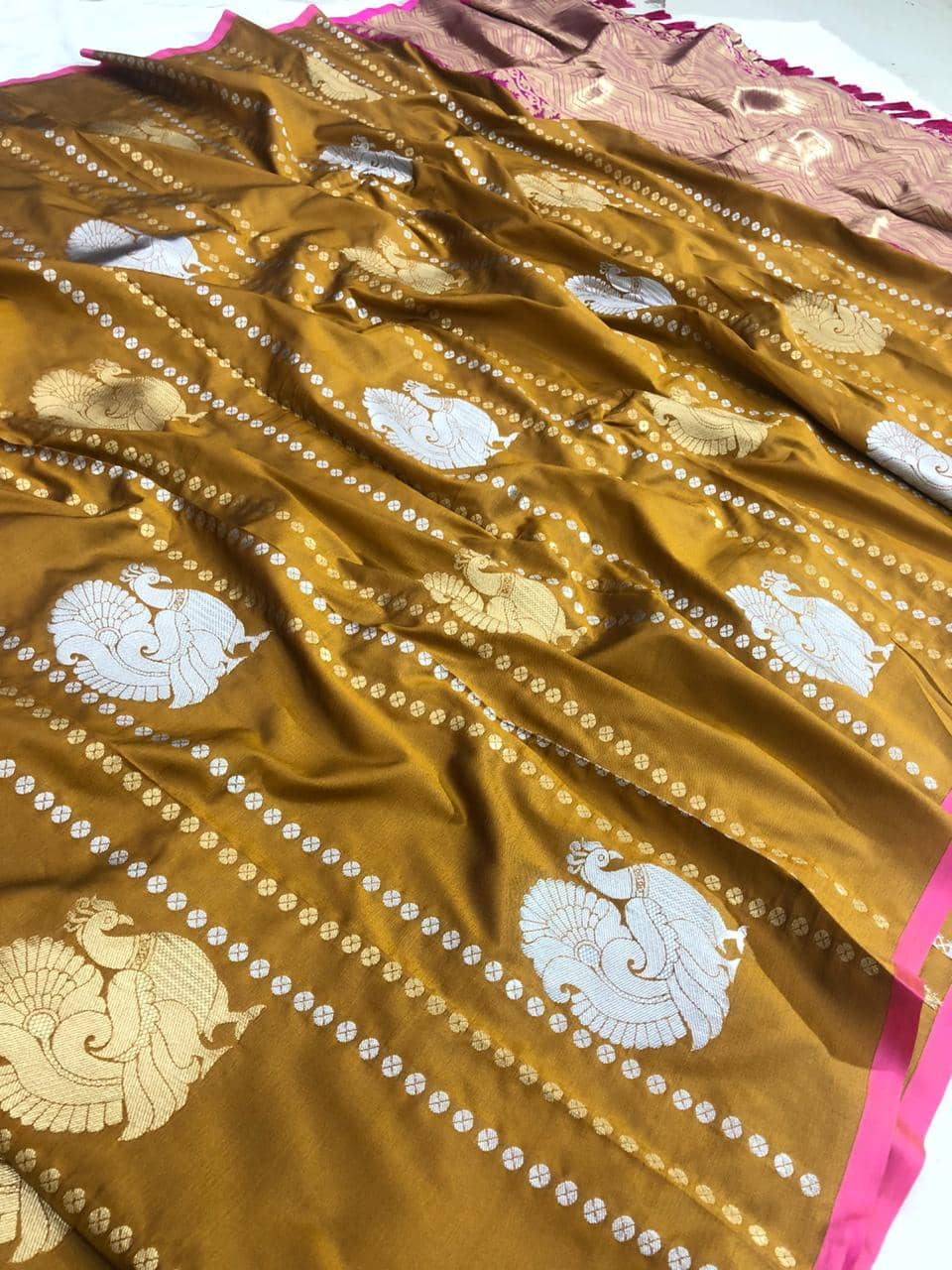 stunning Kanchipuram saree with Golden and sliver zari (Mustard) dvz0001349