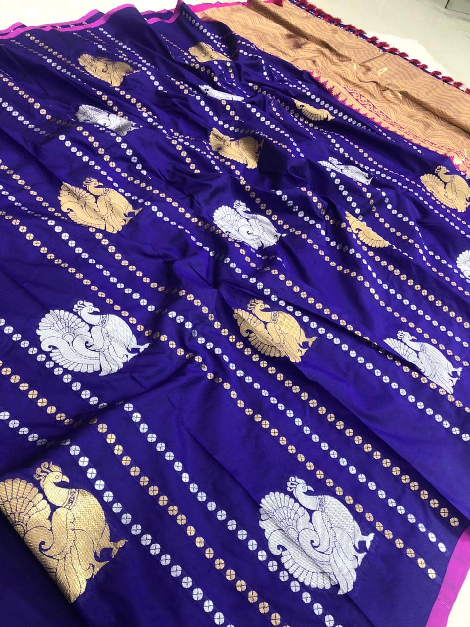 stunning Kanchipuram saree with Golden and sliver zari (blue) dvz0001346