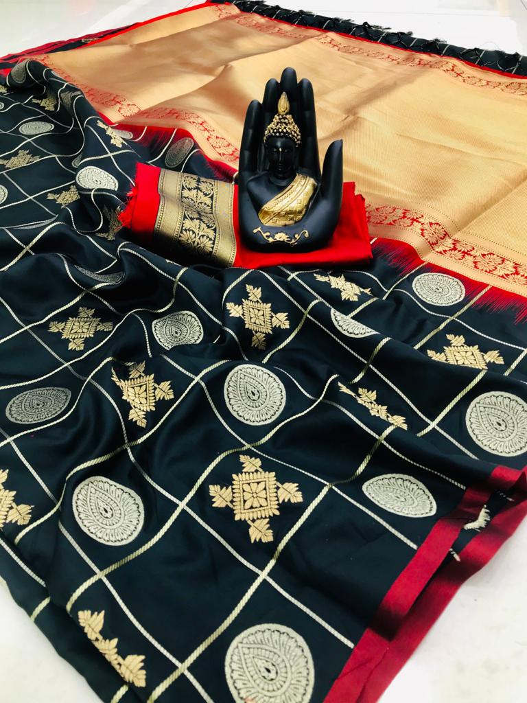 stylish looking soft silk saree in Black dvz0001966