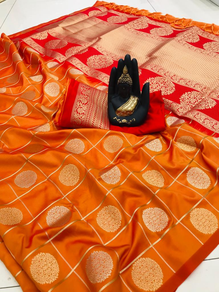 stylish looking soft silk saree in Orange dvz0001969
