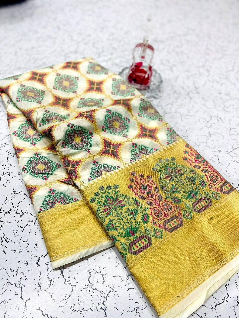 white soft banarasi patola silk saree with reach pallu dvz0002019