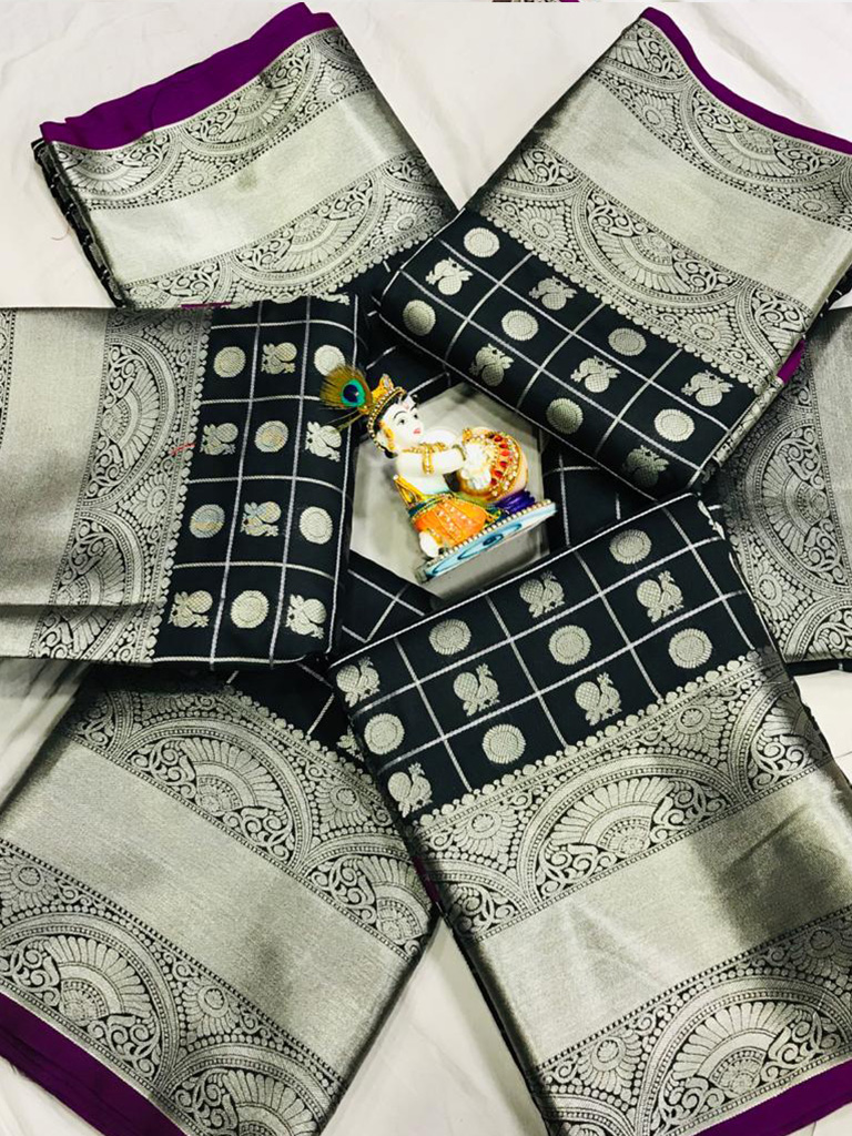 women's Black Lichi Silk Traditional saree dvz0002210