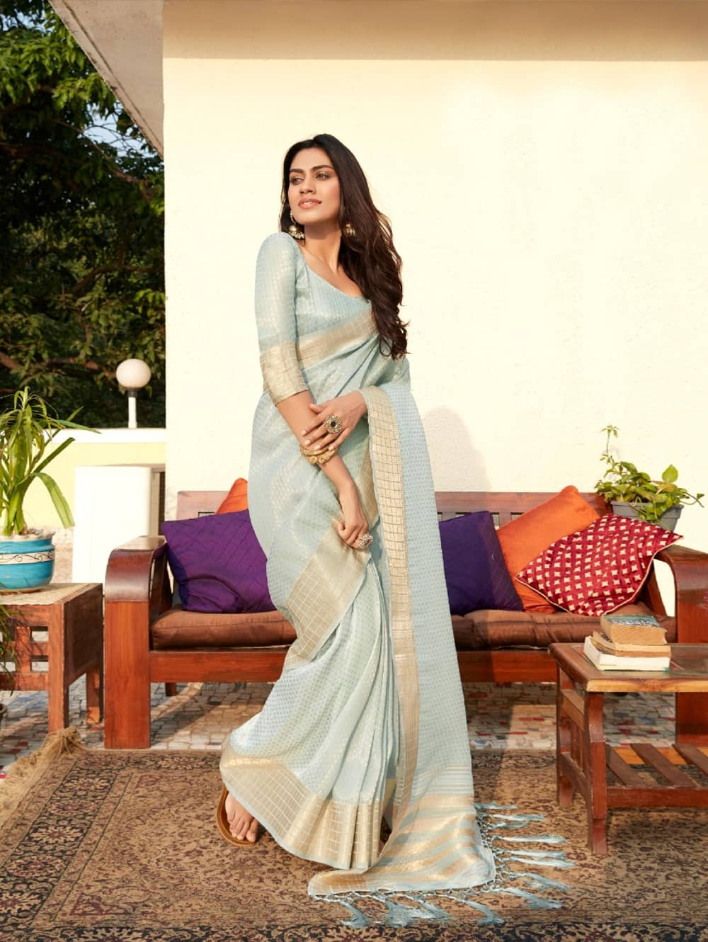 women's Blue Gorgeous Soft Tissue Silk saree dvz0002198