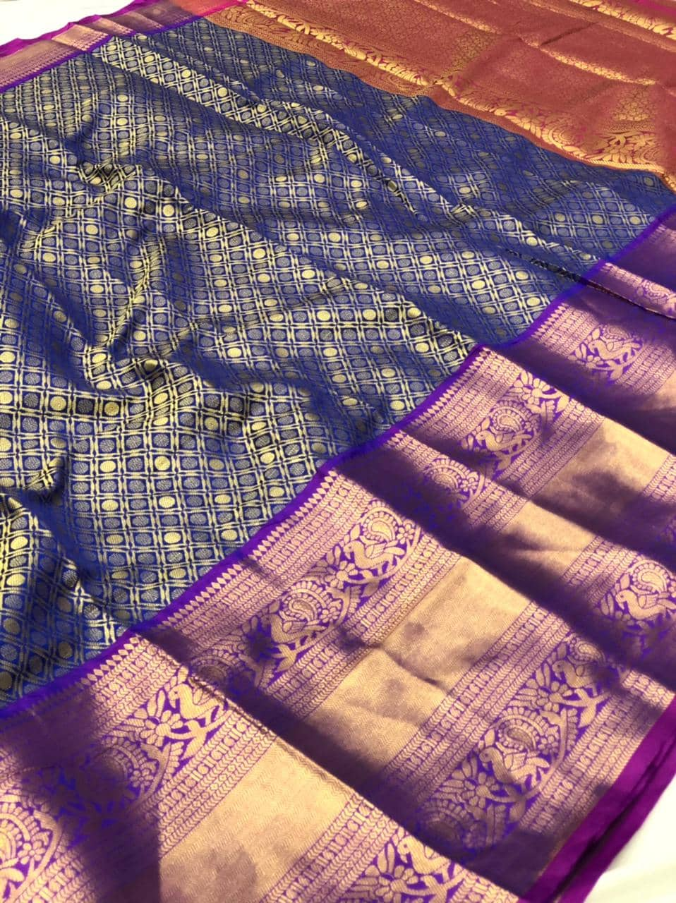 women's Blue Kanchipuram silk saree india dvz0002228