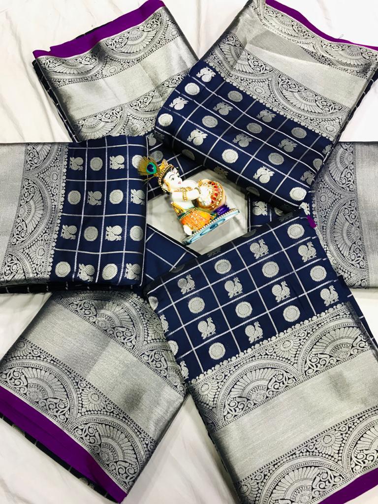 women's Blue Lichi Silk Traditional saree dvz0002211